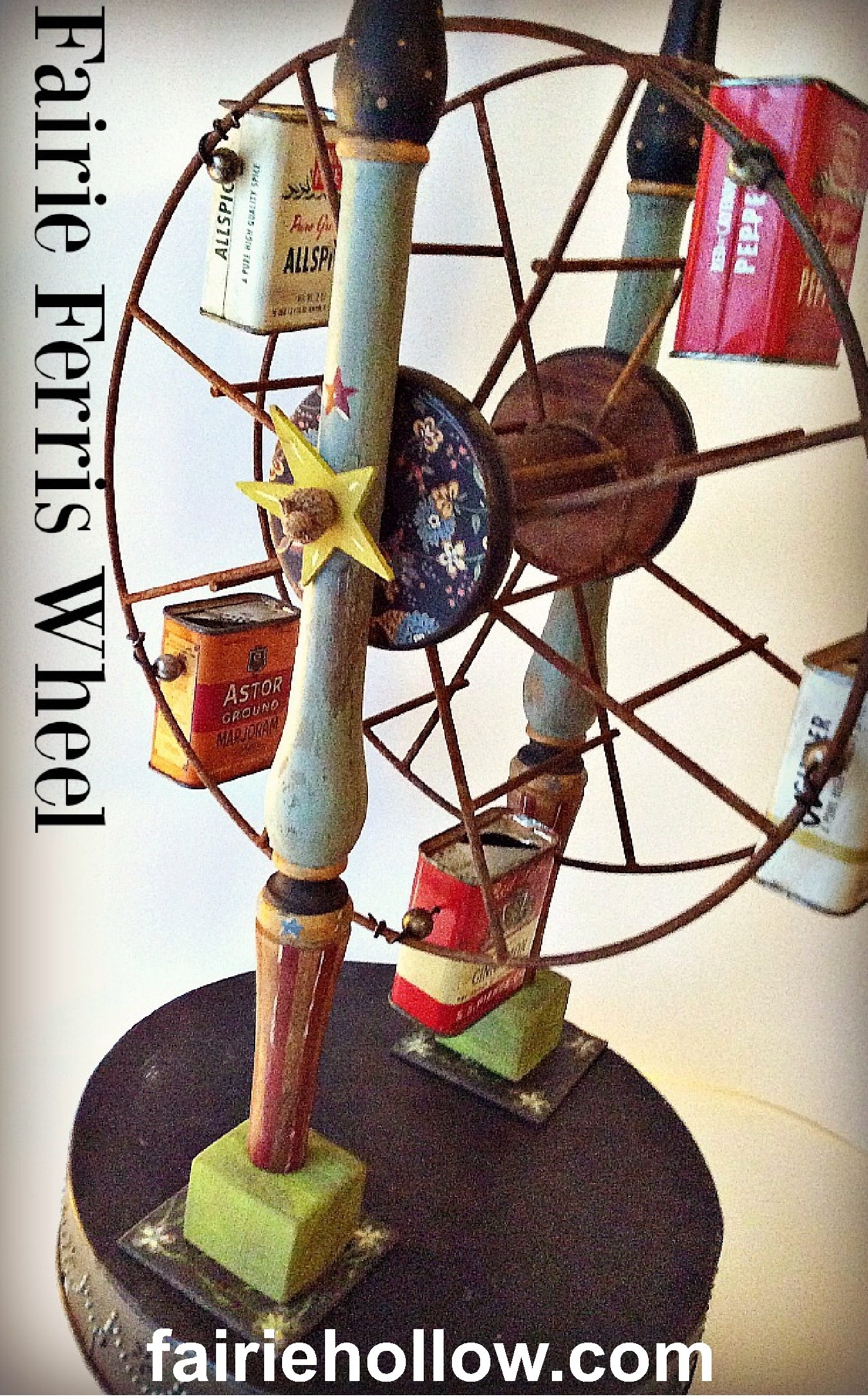 This Fairy Ferris Wheel was fun to make. Find out which vintage items I used to make it| Fairiehollow.com