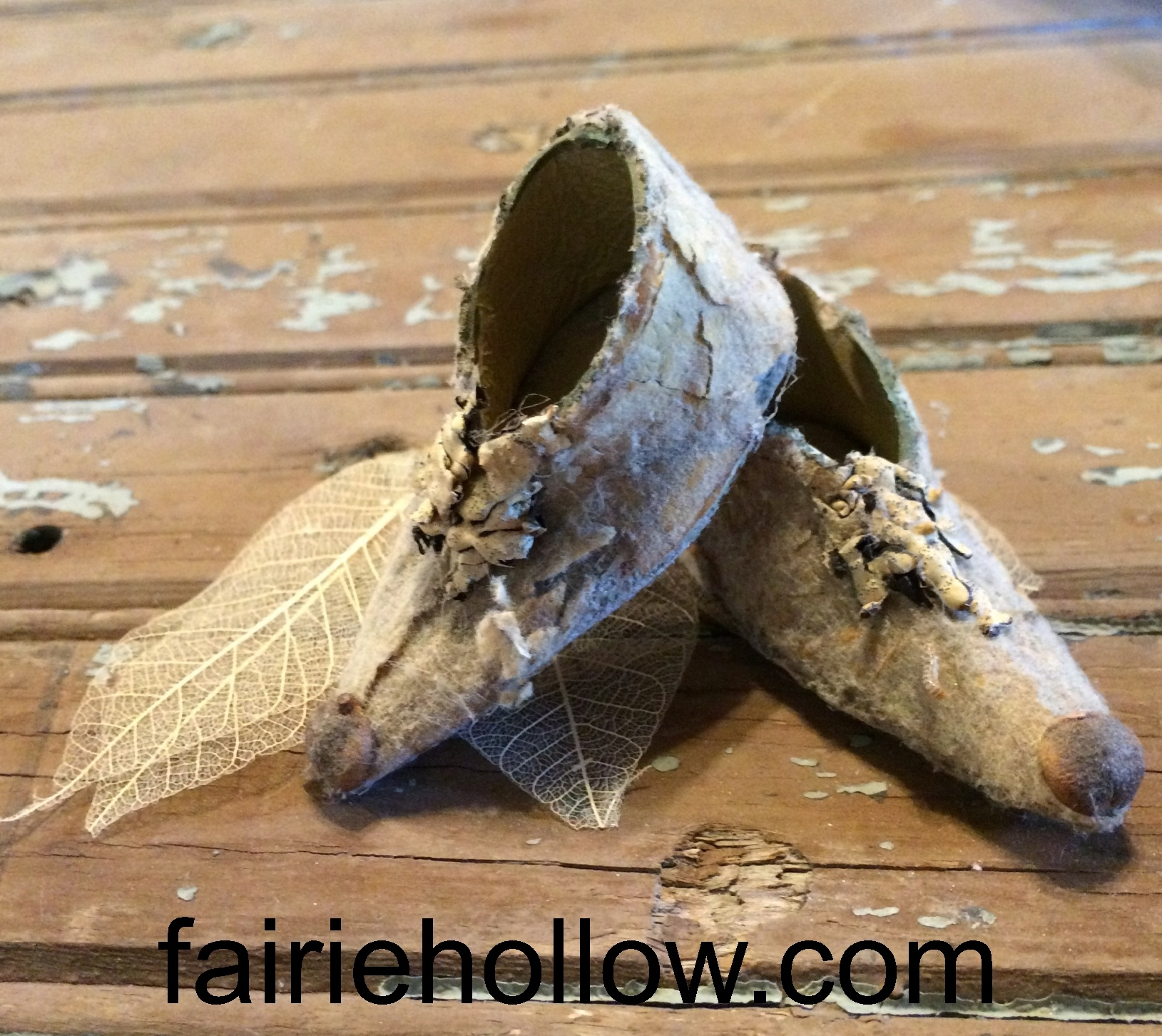 Fairy shoes made from lambs ear and pods. Get the patterns for these shoes|fairiehollow.com