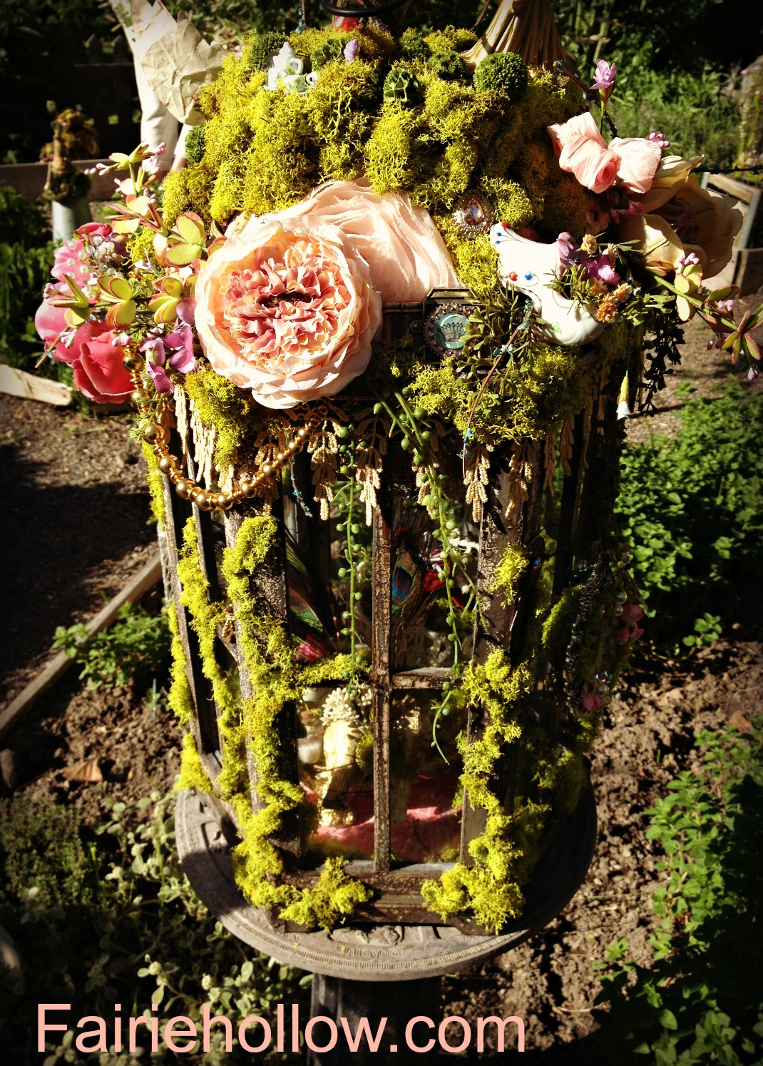 Fairie garden party Rose House moss birdcage | fairiehollow.com