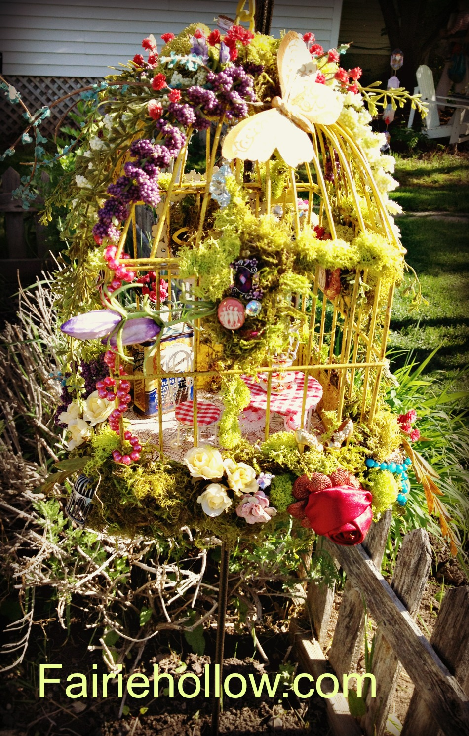 Garden Fairie party house birdcage flowers moss flowers fairy furniture |fairiehollow.com