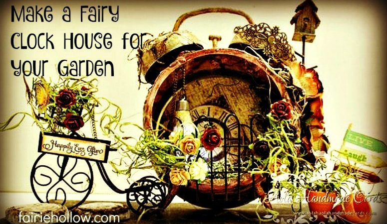 Mixed media Fairy House Clock scrapbook paper found objects | fairiehollow.com